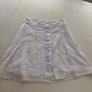White eyelet button down skirt